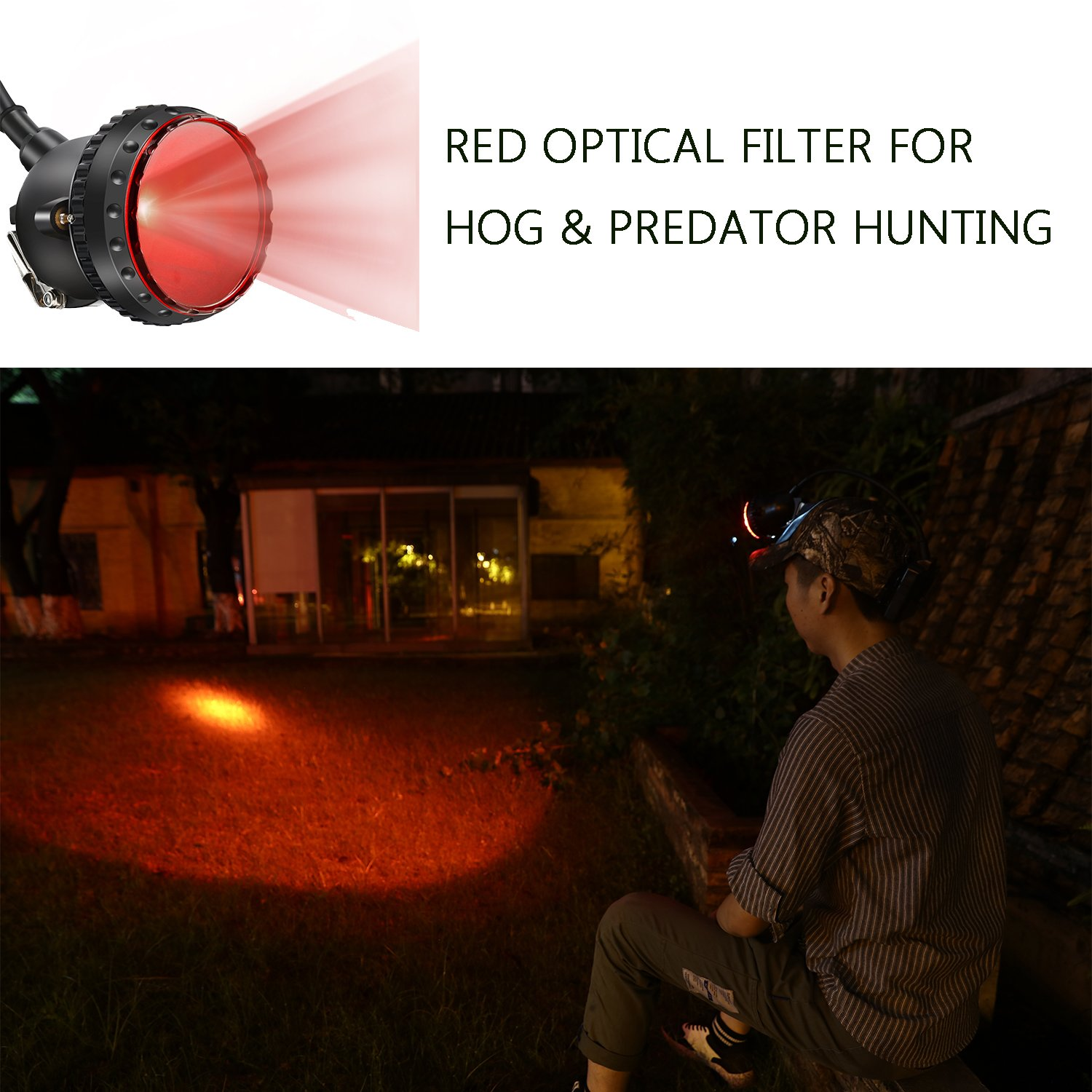 GearOZ Safety Miner Headlamp Cap with 4 White Light Modes for Mining//Equipped Rechargeable Battery//Free Red/&Green Len Filters for Coyote//Predator//Coon Hunting//Waterproof /& Explosion Proof Headlight