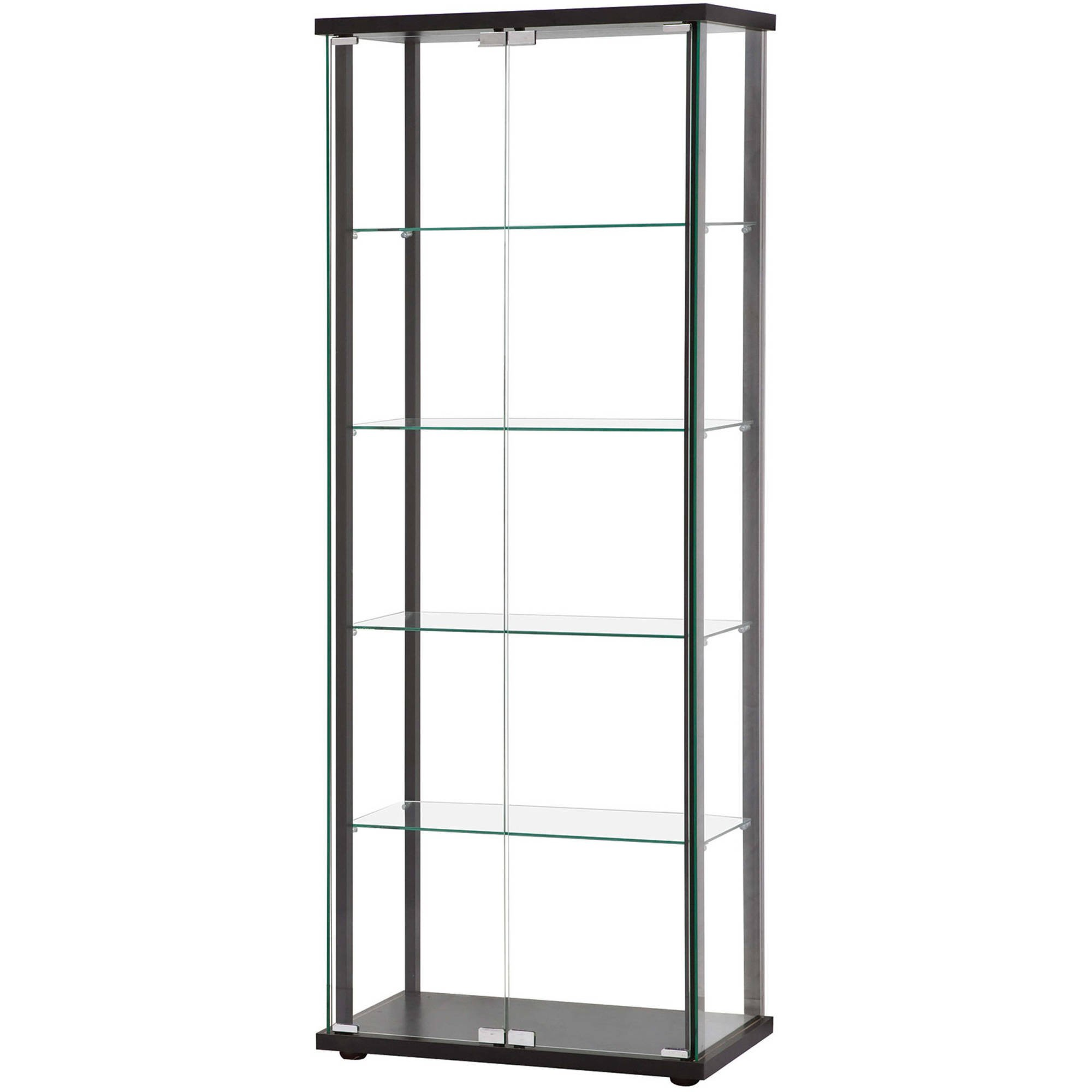 Minimalistic Glass China Cabinet with Clear See-Through Design, Five Tempered Glass Shelves, Simple and Elegant Black Wood Frame, Push-to-Open Door Mechanism, Rectangle Shape + Expert Home Guide