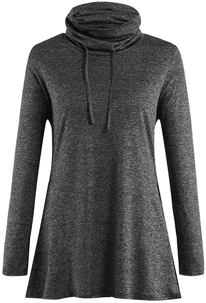 OSTELY Womens Pullover Plus Size Sweatshirts Long Sleeve Casual Loose Solid Color High Collar Color Cotton Sweater
