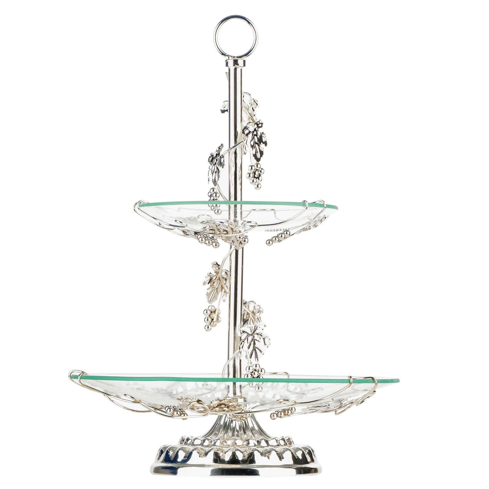 Fruit Bowl and Cake Stand,OKOMATCH 2 Tier Serving Platter With Round Glass Plate & Golden Stainless Steel Holder for Gift Giving/Birthday / Party/Wedding / Home(Silver)