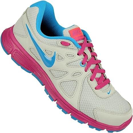 Nike - Zapatillas nike wmns revolution 2 msl de running, talla 38.5, color gris / azul / rosa fucsia: Amazon.es: Zapatos y complementos