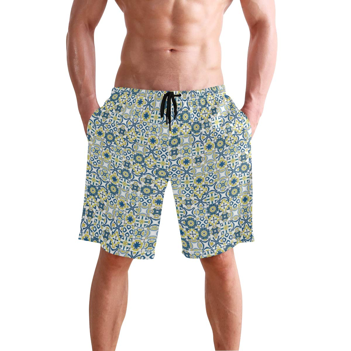COVASA Mens Summer ShortsTraditional Moroccan Mosaic Portuguese European Arabe