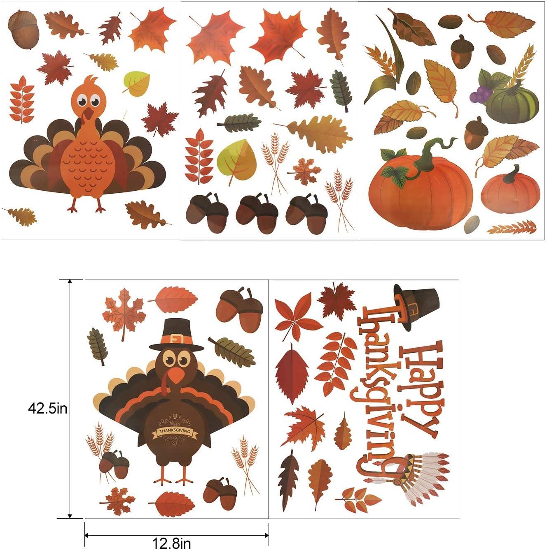 230 PCS Turkey Pumpkin Maple Leaves Acorns Fall Autumn Window Sticker Decor Harvest Day Thanksgiving Decorations MorTime Thanksgiving Window Stickers