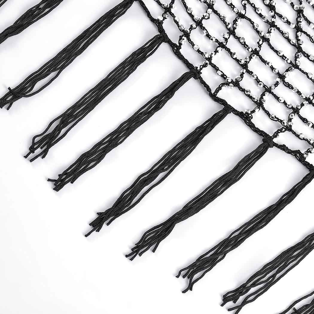 ELABEST Boho Rhinestone Body Chain Black Woven Mesh Belly Waist Chains Tassel Hollow Skirt Party Jewelry Accessories for Women and Girls