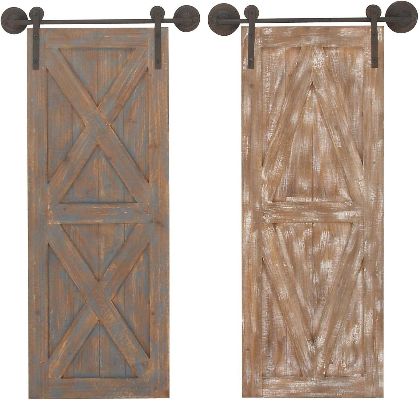 Deco 79 94606 Wooden Barn Door Wall Décor (Set of 2), 20