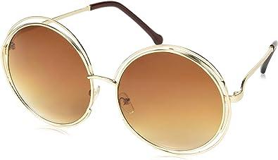 OVERSIZED Vintage Retro Boho Bohemian Hippie Round Circle Women GOLD Sunglasses