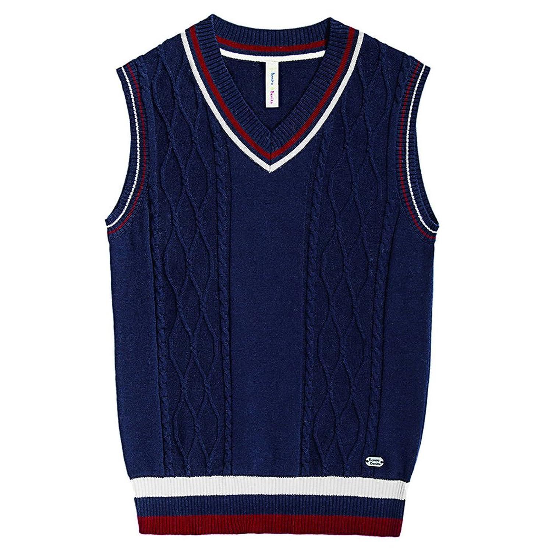 Amazon.com: Wei Juan Boys Sweater Vest Argyle V Neck Sleeveless ...