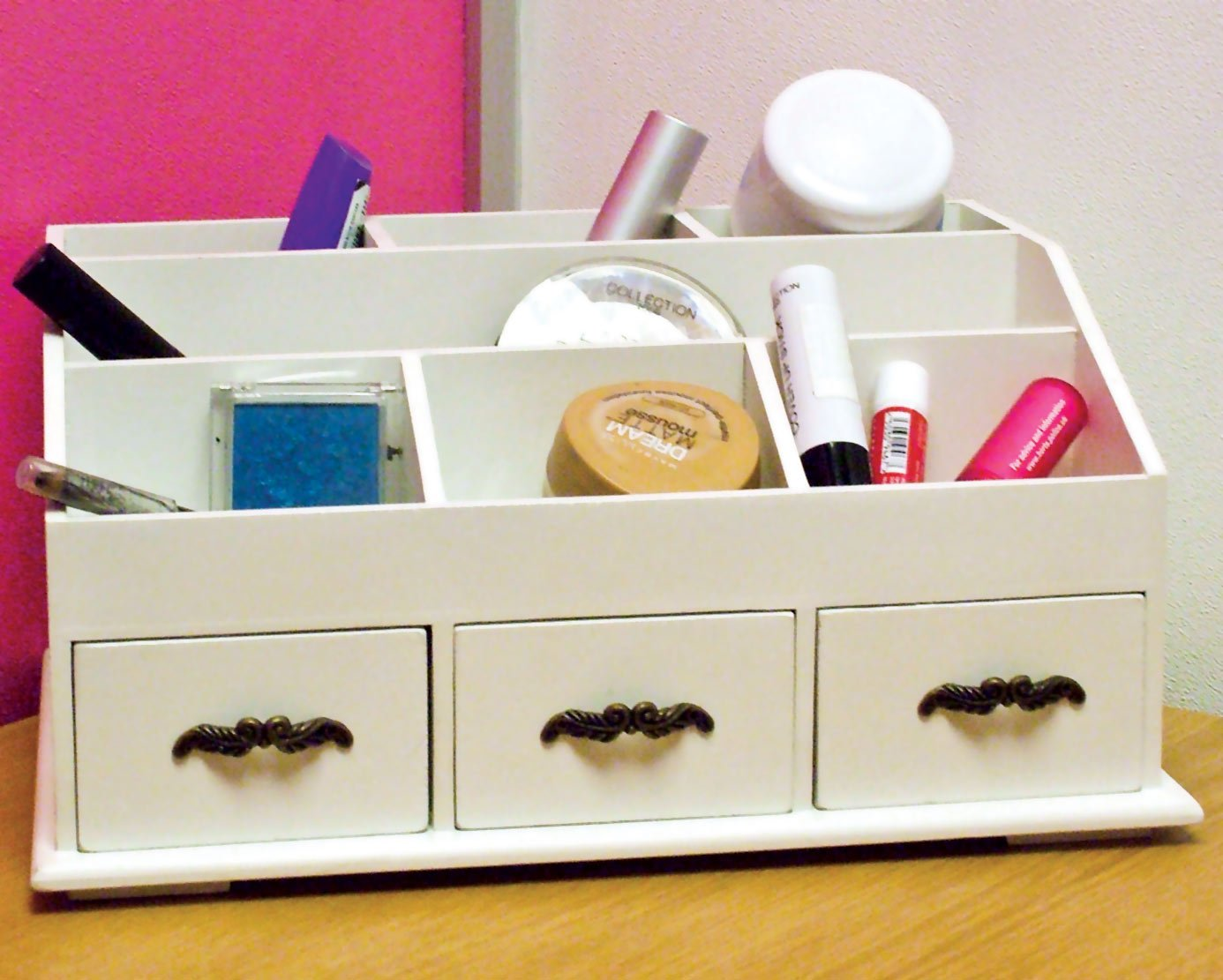 wooden desk tidy caddy with three drawers and 7 organiser compa amazoncouk office products