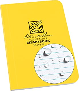 "product image for Rite In The Rain Weatherproof Soft Cover Notebook, 3.5"" x 5"", Yellow Cover, Universal Pattern (No. 374-M)"