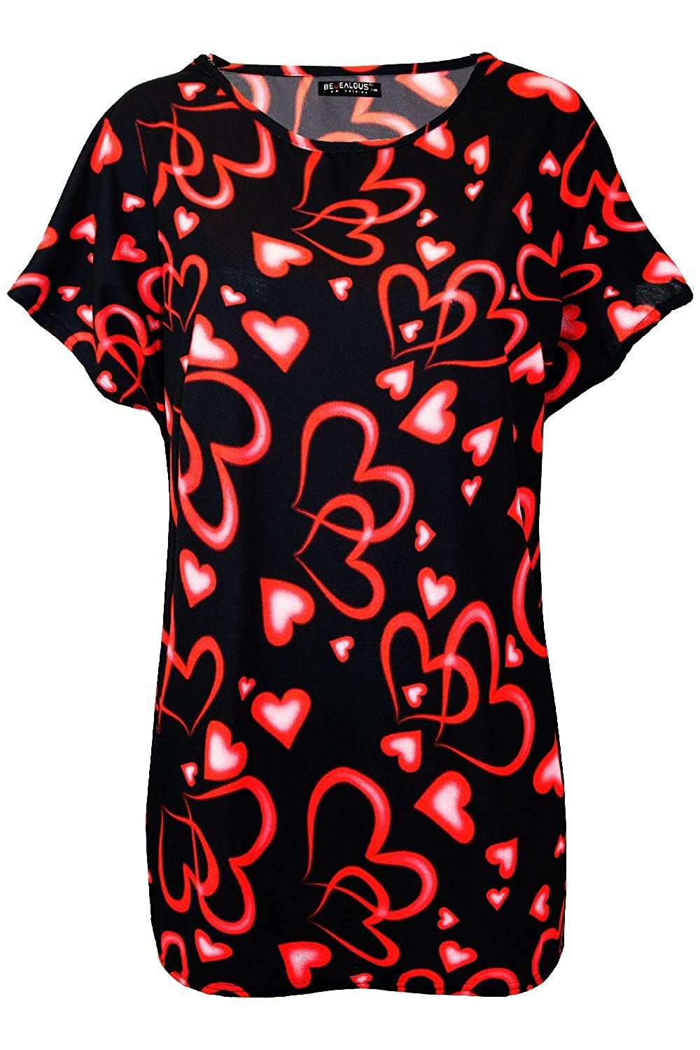 Womens Ladies Oversized Valentines Floral Love Heart Baggy Batwing T Shirt Top