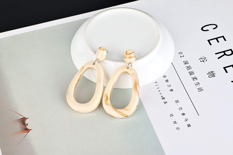 liujun Charm Big Oval Resin Earrings for Women Fashion Jewelry Stylish Resin Hollow Round Hypoallergenic Hoop Earring for Girls Friends Gift