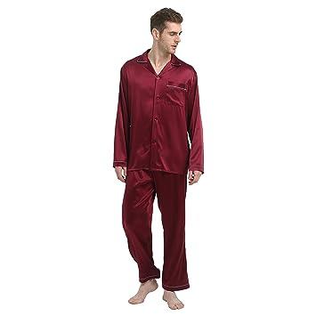 Jasmine seda Hombres de pijama de seda Pure Conjuntos Burdeos Small