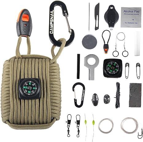 Campsnail Kit de Supervivencia de Emergencia para Acampada – 25 Accesorios de Primeros Auxilios para Supervivencia envueltos en Cuerda de paracaídas de 550 Libras para emergencias: Amazon.es: Deportes y aire libre