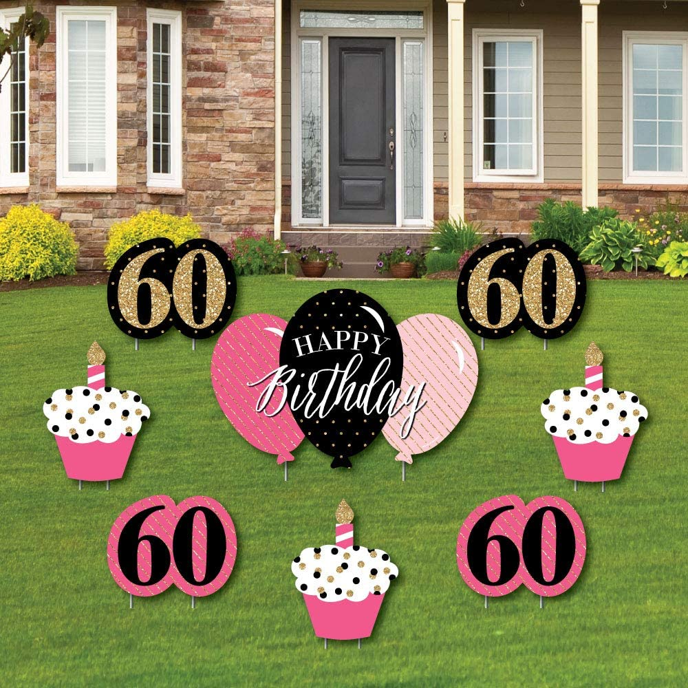 Big Dot of Happiness Chic 60th Birthday - Pink, Black and Gold - Yard Sign and Outdoor Lawn Decorations - Happy Birthday Party Yard Signs - Set of 8