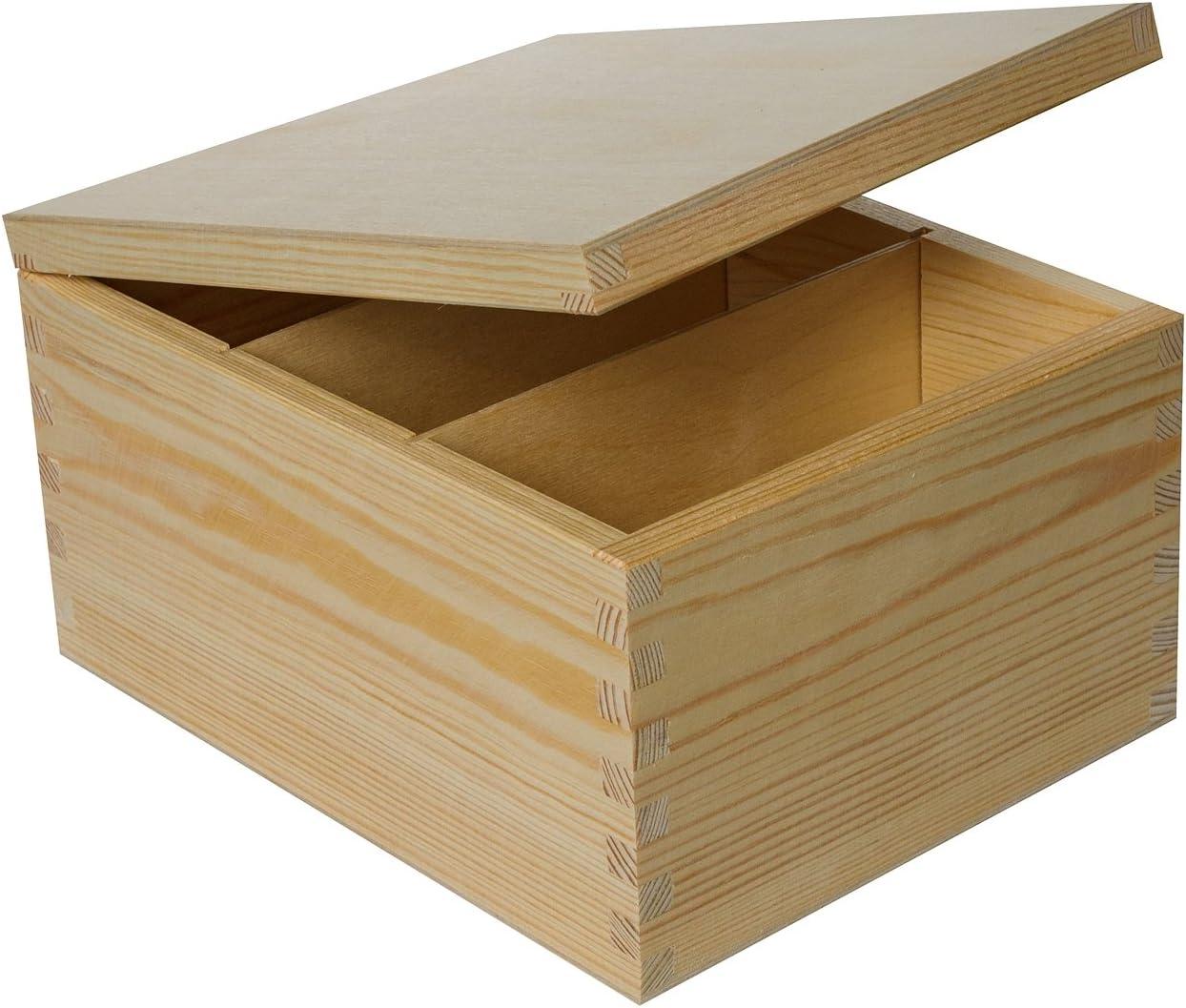 Creative Deco Caja Madera para CD DVD Carta | 3 Compartimentos | 18,5 x 24 x 13,5 cm | para Decorar con Tapa | Decoracion Almacenaje Herramiente Decoupage | Perfecta para Documentos Juguetes: Amazon.es: Oficina y papelería