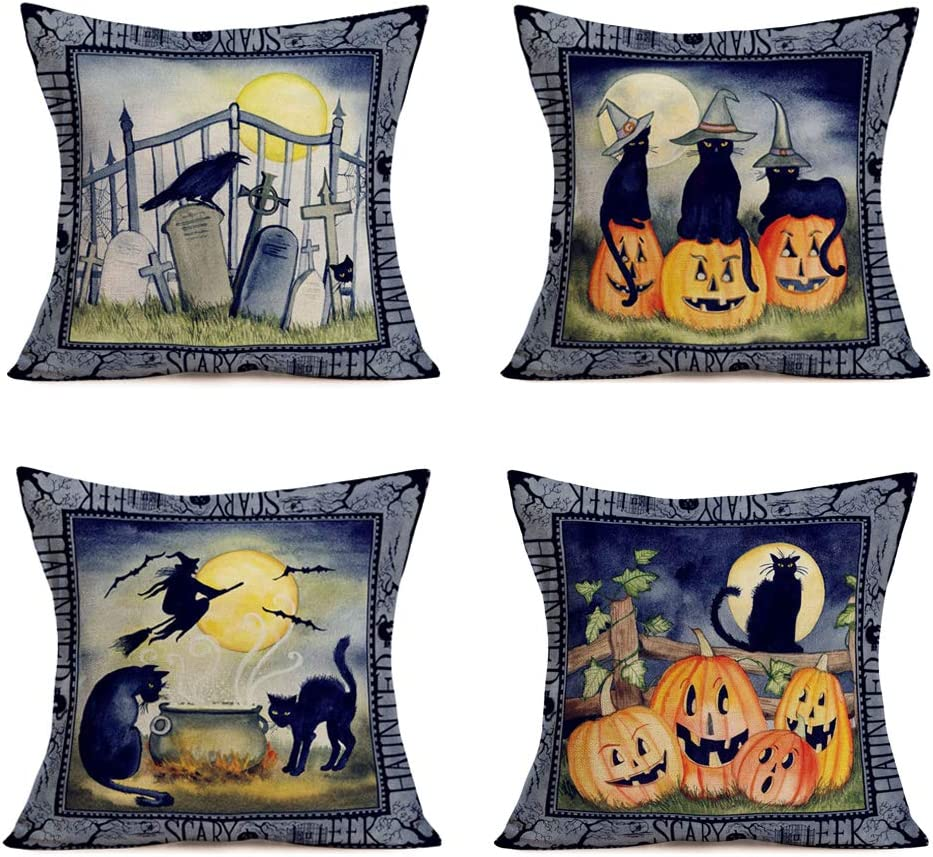 Hopyeer Vintage Halloween Pillow Covers Pumpkin Midnight Party Graves Witches Crows Black Cats Design Throw Pillowcase Cotton Linen Cushion Case Cover Decor Sofa Couch Bed 18
