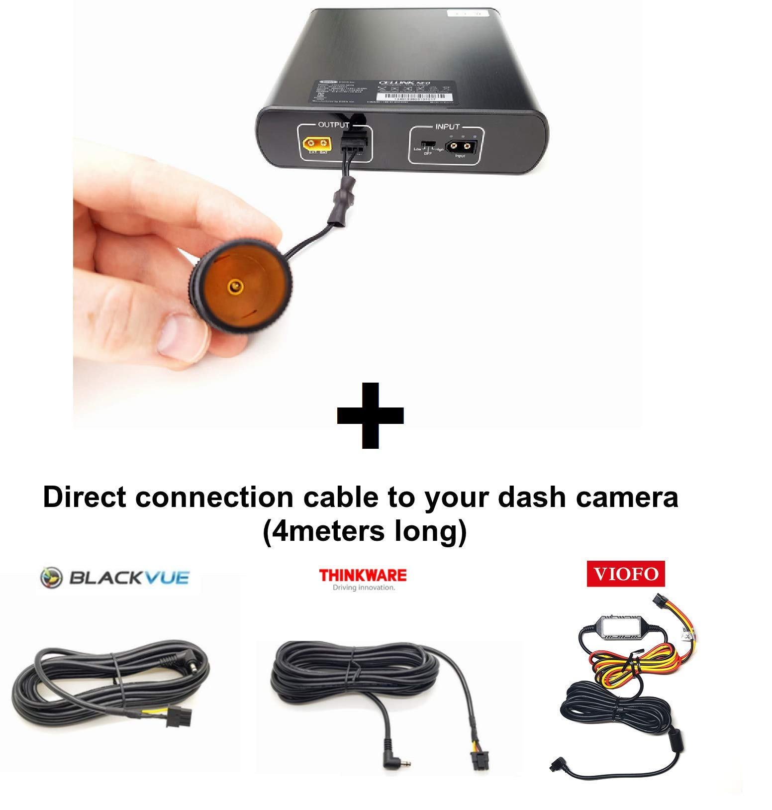 SPLICED OUTPUT VERSION Cellink NEO for Thinkware or Blackvue Dashcams Samsung LiFePO4 +VIOFO A129//A119 SPLICED CABLE Faster and Smarter Battery pack with built-in Bluetooth - for Dash Cam
