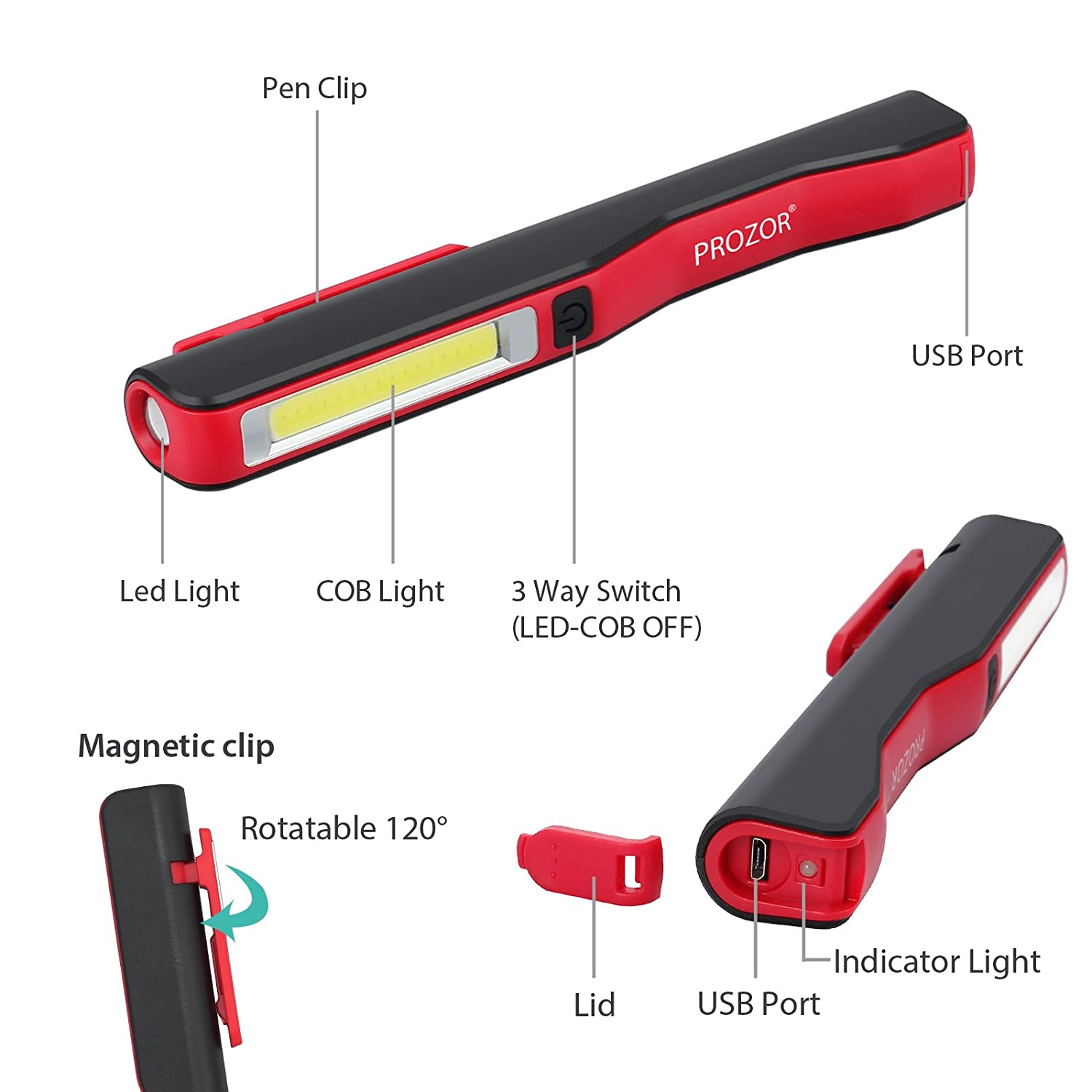 PROZOR 3W COB 1W LED Mini Work Light Magnetic Inspection Lamp USB Rechargeable Hand Torch Cordless Flexible with 80CM USB to Micro USB Cable and 3.7v 800mAh Built-in Baterry Red