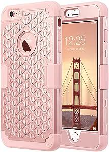 ULAK iPhone 6 Plus Case, iPhone 6S Plus Case Glitter,Bling Rhinestone Heavy Duty Shockproof Hybrid Hard PC Soft Silicone Scratch Protective Case for iPhone 6 Plus/iPhone 6s Plus 5.5 inch,Rose Gold