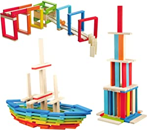 Wondertoys 100 Pieces Wooden Planks Set, Building Block for Kids STEM Educational Construction Toys for Boys and Girls Building Planks Wooden Toys Set Develops Imagination Creativity