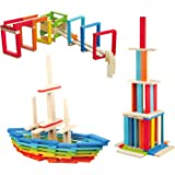 Wondertoys 100 Pieces Wooden Planks Set, Building Block for Kids STEM Educational Construction Toys for Boys and Girls Buildi