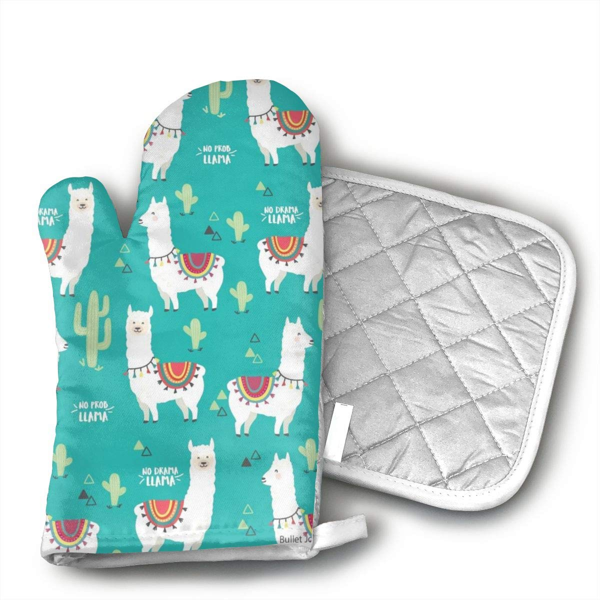 Cute White Llama Alpaca Cactus Oven Mitts and Pot Holders Kitchen Mitten Cooking Gloves,Cooking, Baking, BBQ.