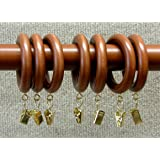 """1-3/8"""" Solid Wood Drapery Rings with Brass Clips in Walnut Finish"""