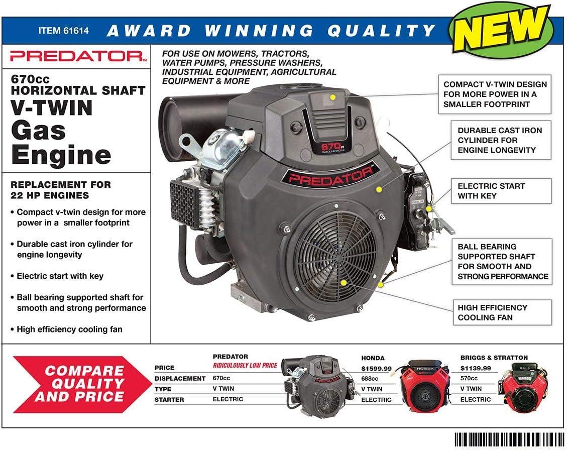 Amazon.com: 22 HP (670cc) V-Twin Horizontal Shaft Gas Engine EPA Predator:  Garden & OutdoorAmazon.com