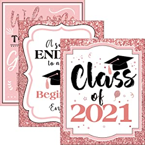 Graduation Party Supplies 2021 Graduation Party Decorations Centerpieces Gifts | 8x10 Class-of-2021 Sign Home Decor [Unframed] (Rose Gold)