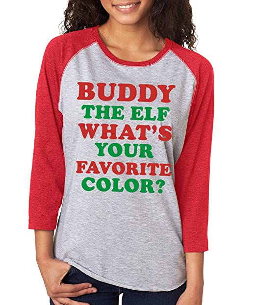 7fc3b6447eae38 SignatureTshirts Women's Christmas Raglan Buddy The Elf What's Your  Favorite Color? Holiday Tee at Amazon Women's Clothing store: