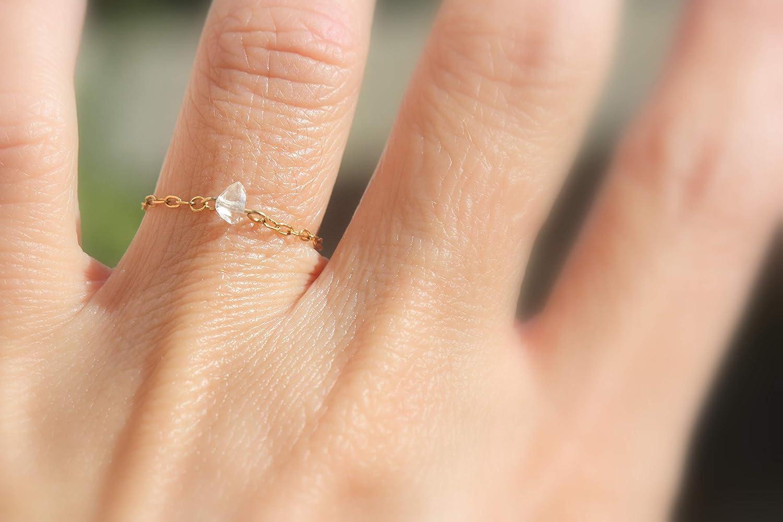 Dainty Gold Ring Herkimer Diamond Chain Ring