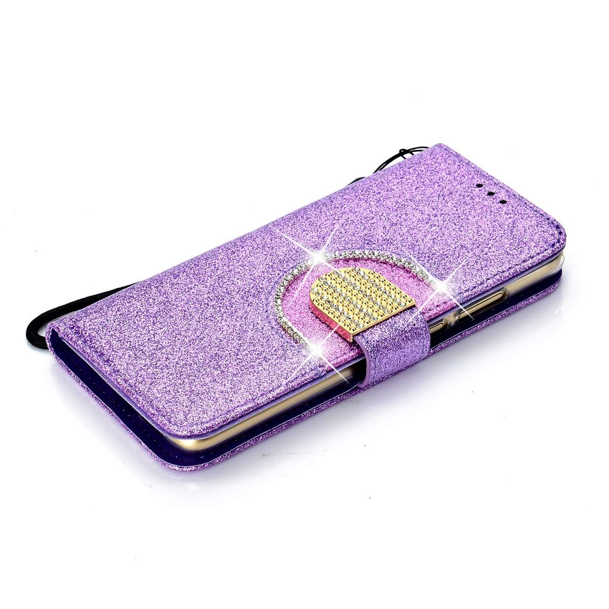 Misstars /Étui /à Rabat Portefeuille Luxe Glitter Strass avec Miroir Design Fonction Stand et Porte-Carte Housse de Protection Paillettes Coque en PU Cuir pour Huawei P20 Lite Violet