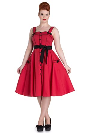 Hell Bunny Martie Rockabilly Retro 1950s Dress - Red ...