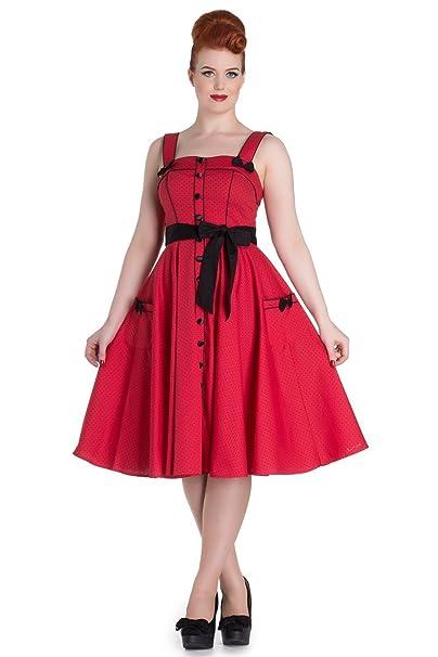 Hell Bunny Martie Vestido Estilo Vintage Retro 1950 - Rojo (S - 38)