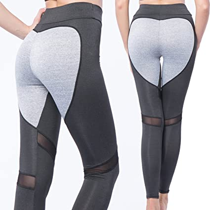 cb1019f6dc4 CROSS1946 Sexy Women s Mesh Yoga Pants Heart Shape Patchwork Printing  Capris Fitness Butt Lift Leggings Grey