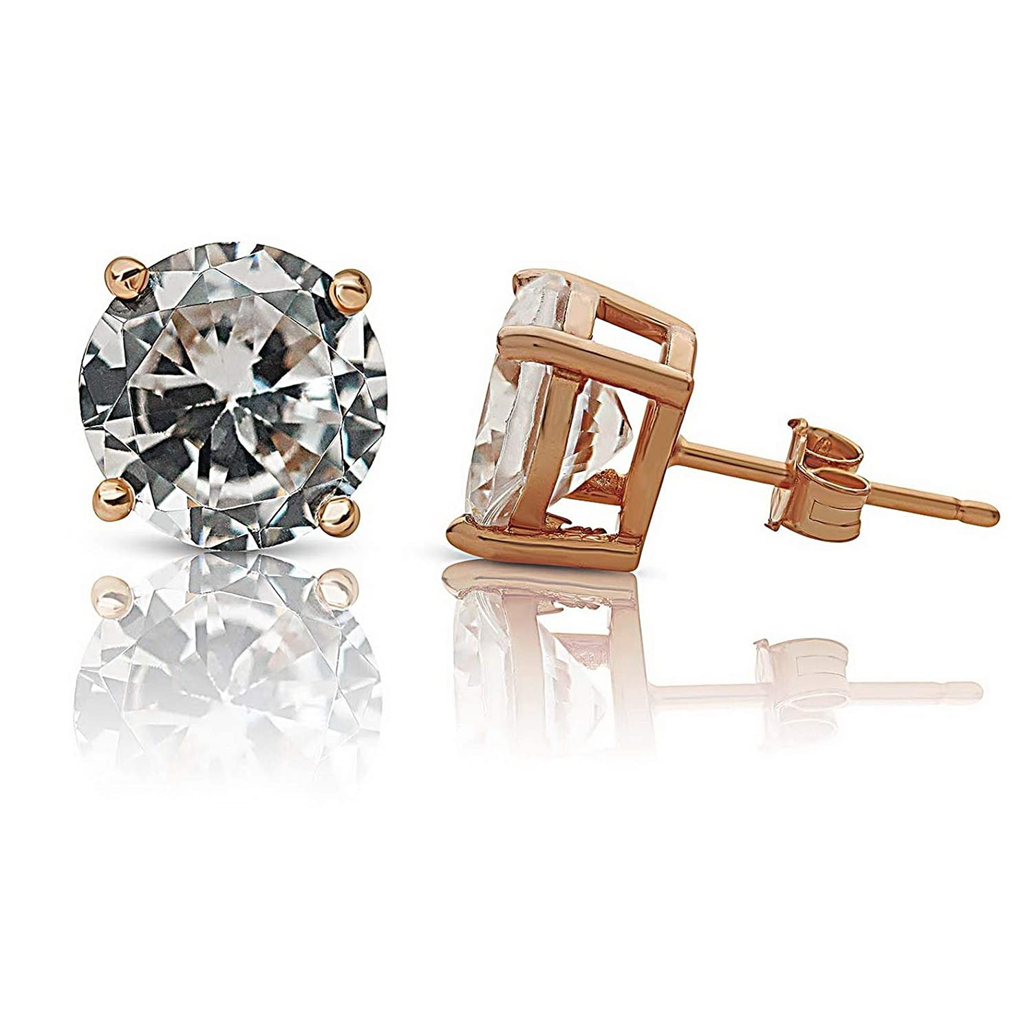 Model ERRNGS 13420 9mm 3XL Large Campton Rose Gold Plated Round Clear White Sterling Silver CZ Stud Earrings