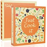 """Recipe Binder Kit - 3 Ring Full Page Recipe Book Binder 8.5""""x11"""" with 30 Page Protectors, 12 Dividers and Labels for Family R"""