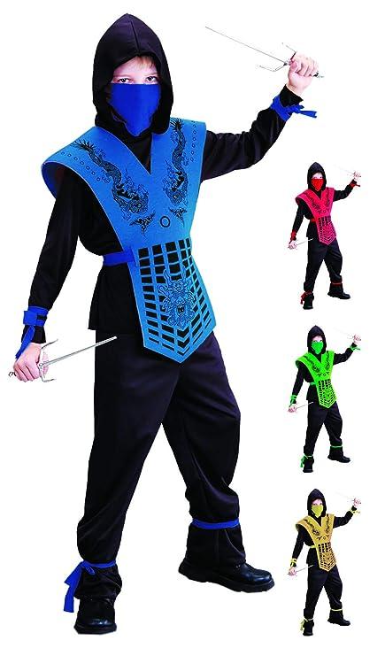 Foxxeo Disfraz de Ninja Negro Azul para niños Disfraz de ...