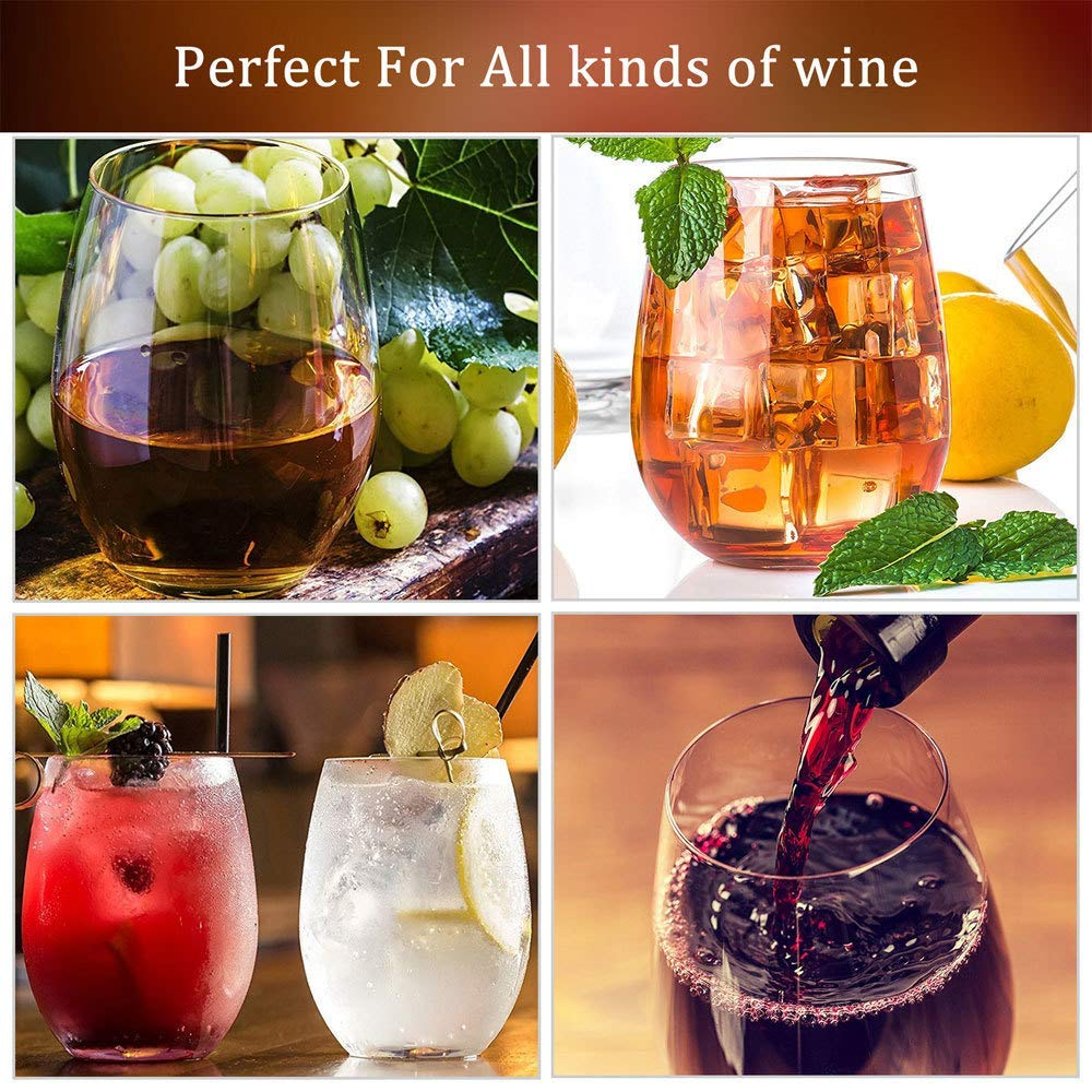 Stemless Wine Glasses, 20- Ounce, Drinking Glass Set, Tumbler Cup, Clear, 4- Piece, Ideal for Red and White Wine, Juice, Water, Kitchen Glassware, Beach, Wedding and Party Gifts - Amallino by Amallino (Image #5)