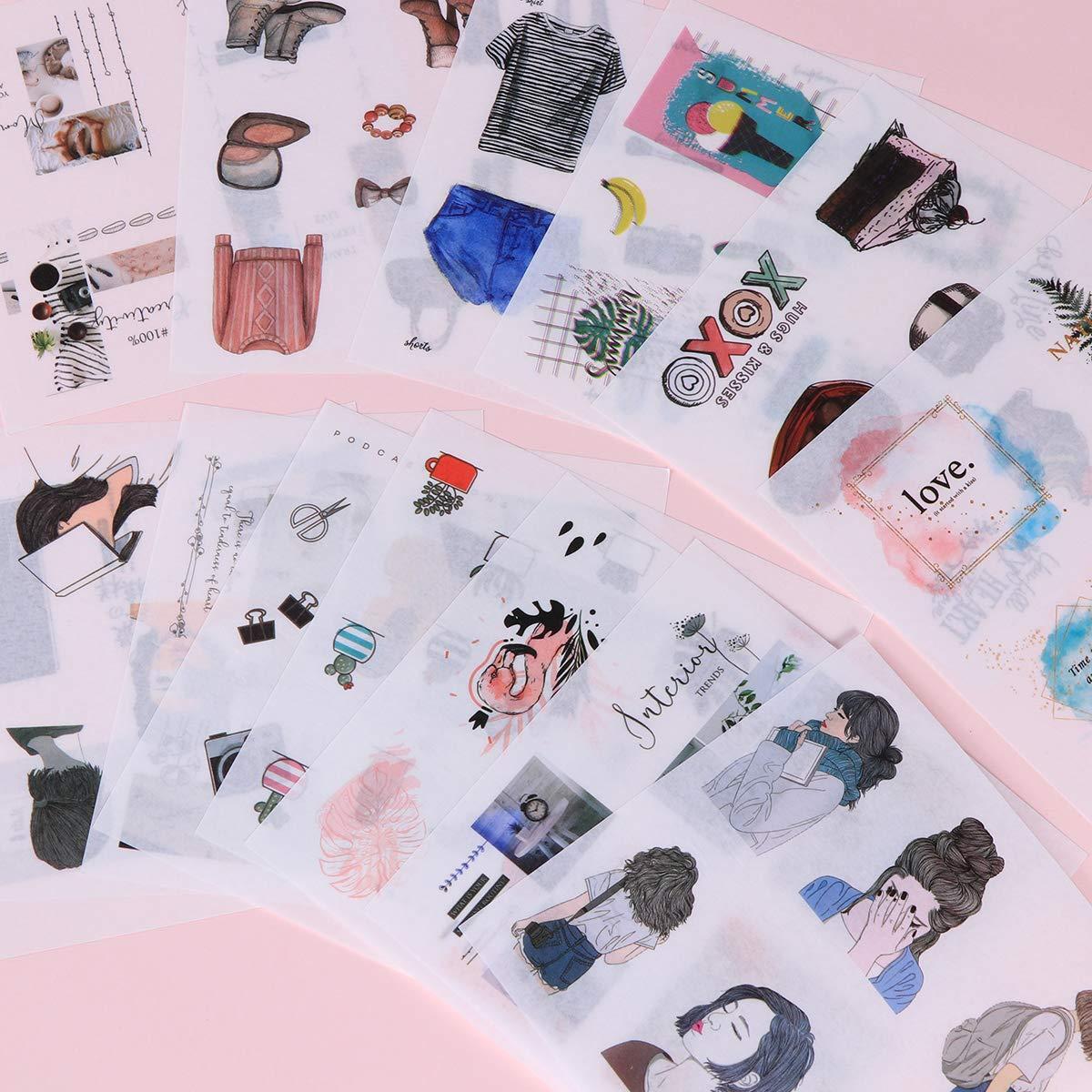 NUOBESTY 50 Fogli Adesivi Rivista Adesivo Diario Album Adesivi per Scrapbooking Agenda e Bullet journal Adesivo per Forniture Artigianali Fai da te e Decorazioni//Dream Pink