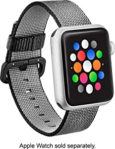 Modal - Woven Nylon Band Watch Strap Apple Watch 38mm - Black Works Series 1, Series 2, Series 3 Series 4