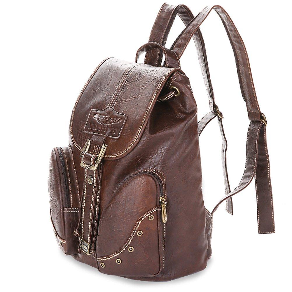 Yaoko Women Fashion college school bag travel backpack (Black) (Deep Coffee)