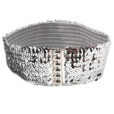 06fcfa79262a Le glamour éternel-Extensible shinning ceinture ceintures femmes paillettes  dames élastiques élégant occasionnel (60cm