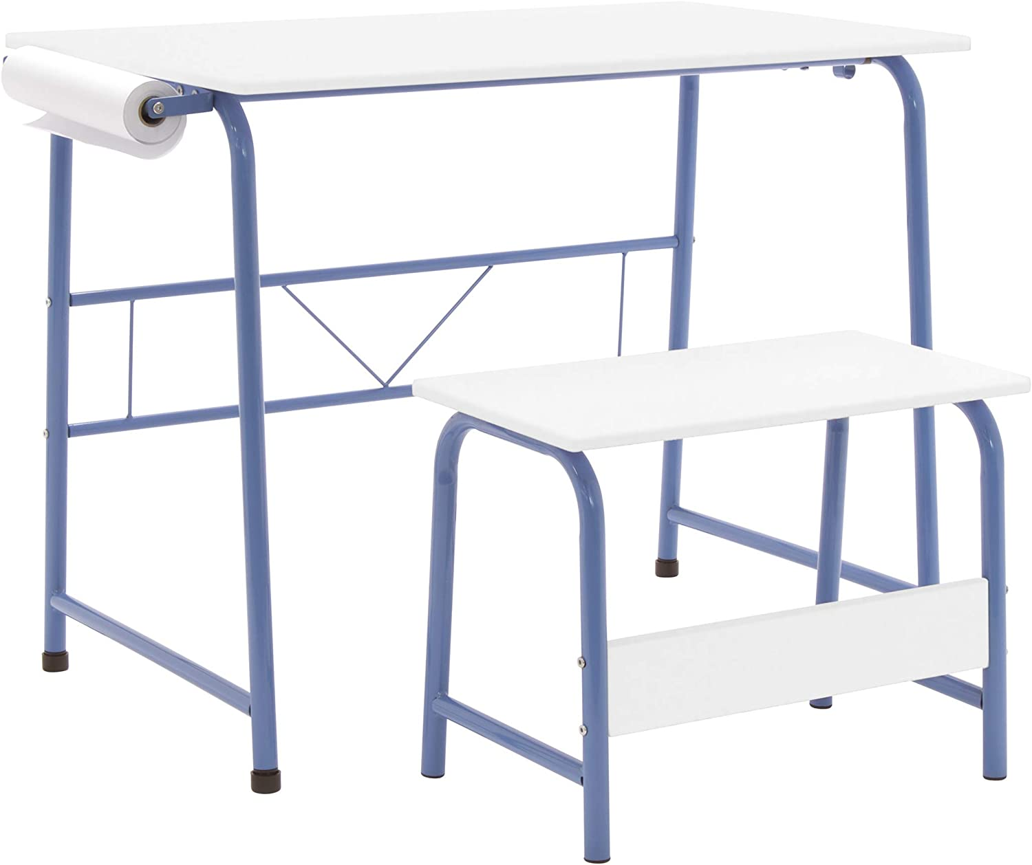 SD Studio Designs Homeroom 2 Piece Art Table with Bench, Paper Roll inlcuded, Blue/White