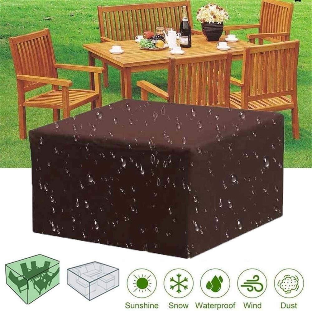 GQQG Cuadrado Fundas Muebles Jardin Exterior Impermeable Muebles de Jardin Cubierta Protectora Anti-UV para Muebles Sillas Sofás Mesas, Marrón (Size : 200x200x30cm)