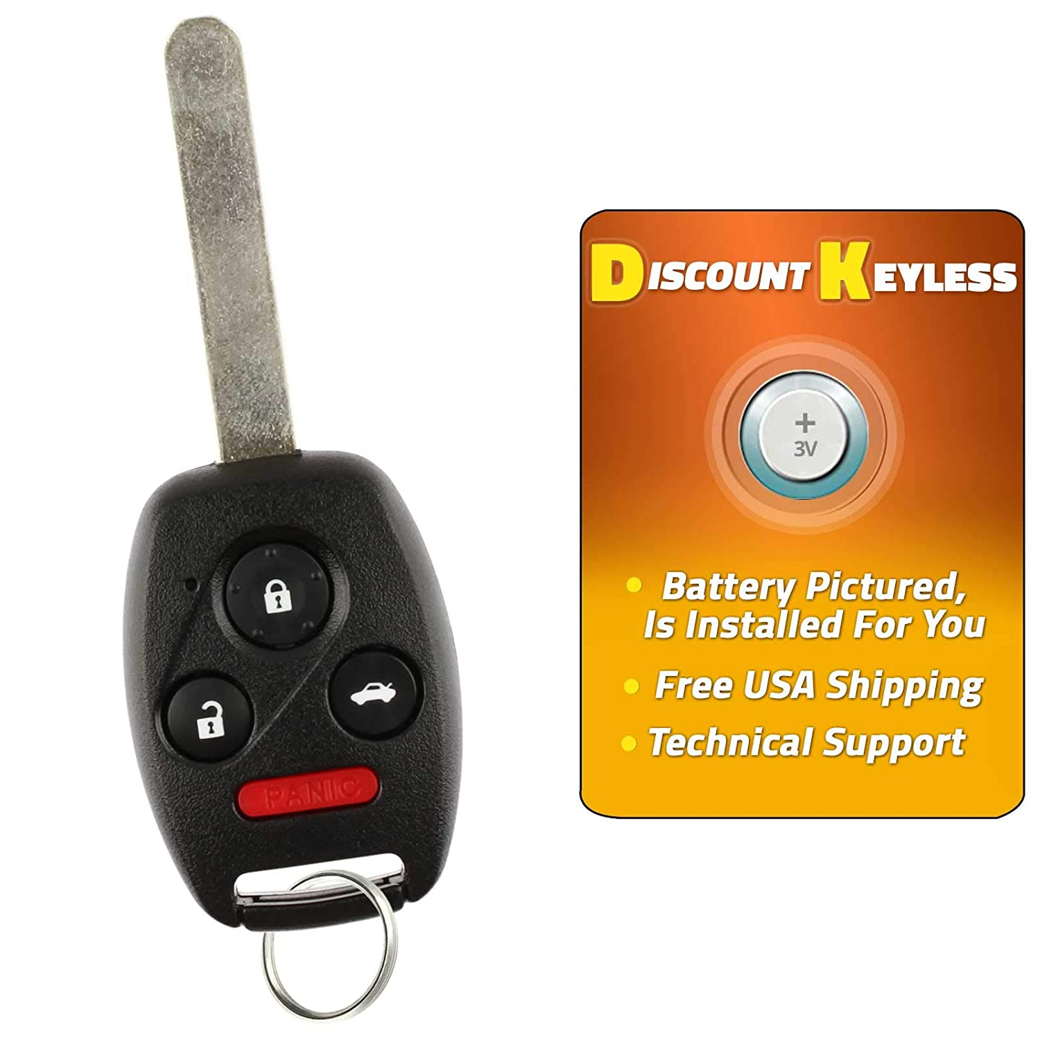 Discount Keyless Replacement Uncut Car Entry Remote Fob Key Combo Honda Civic EX Si N5F-S0084A