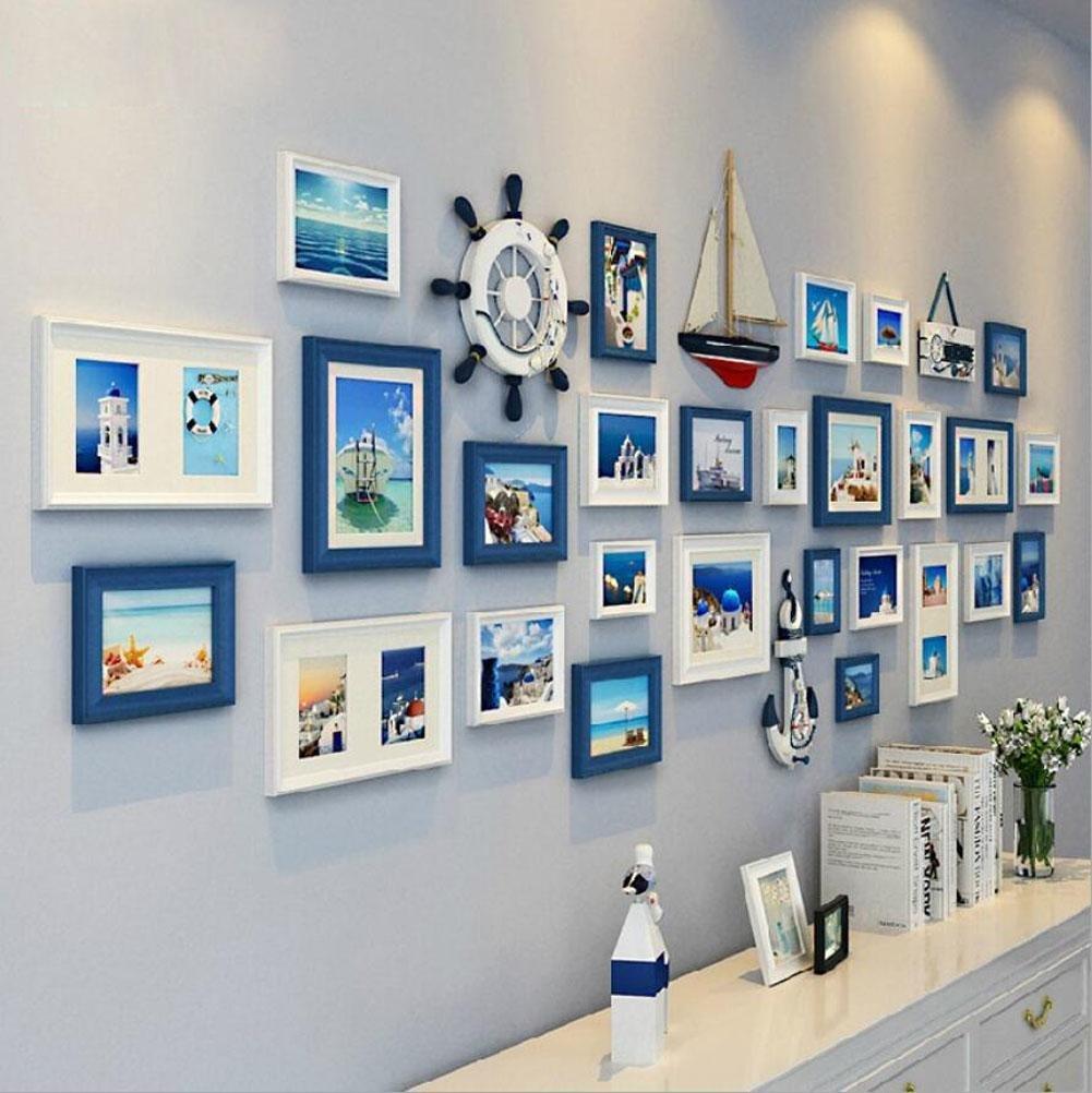 ZZZSYZXL Massivholz Fotowand 27 Rahmen Wohnzimmer Schlafzimmer kreative große Wand Kombination , B