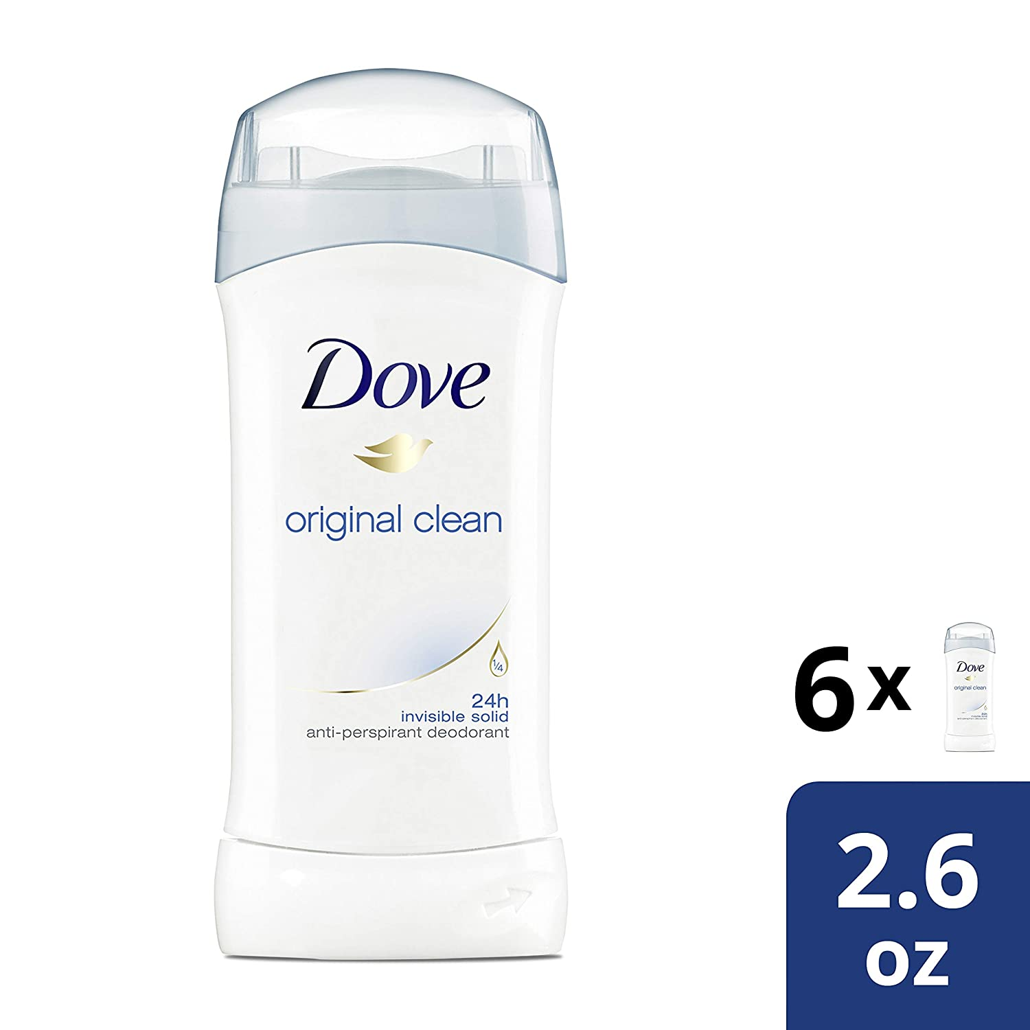 Dove Antiperspirant Deodorant Original Clean 2.6 Ounce (Pack of 6)