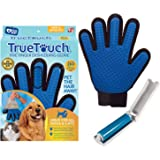 True Touch Five Finger Deshedding Glove- Premium Version, Gentle Grooming Glove Great Cats & Dogs with Long or Short Fur