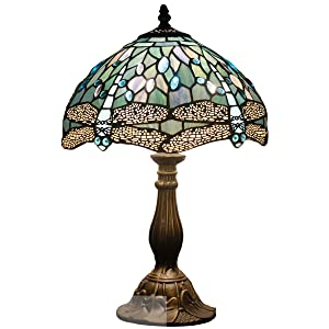 Tiffany Lamp Sea Blue Stained Glass and Crystal Bead Dragonfly Style Table Lamps Height 18 Inch for Coffee Table Living Room Antique Desk Beside Bedroom S147 WERFACTORY
